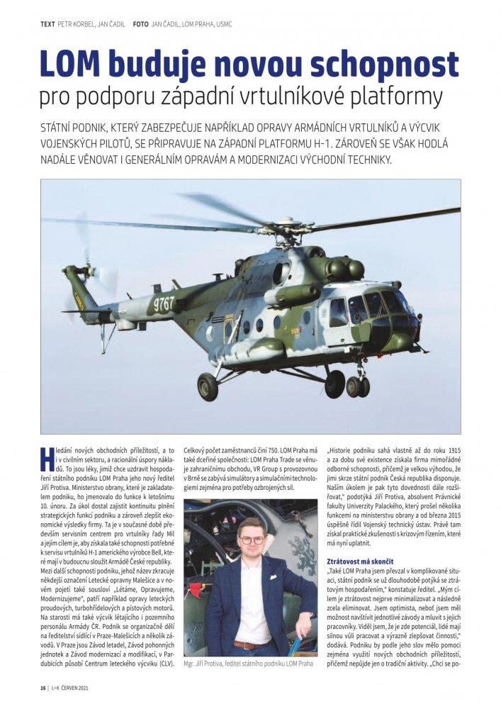 LOM buduje novou schopnost pro podporu západní vrtulníkové platformy