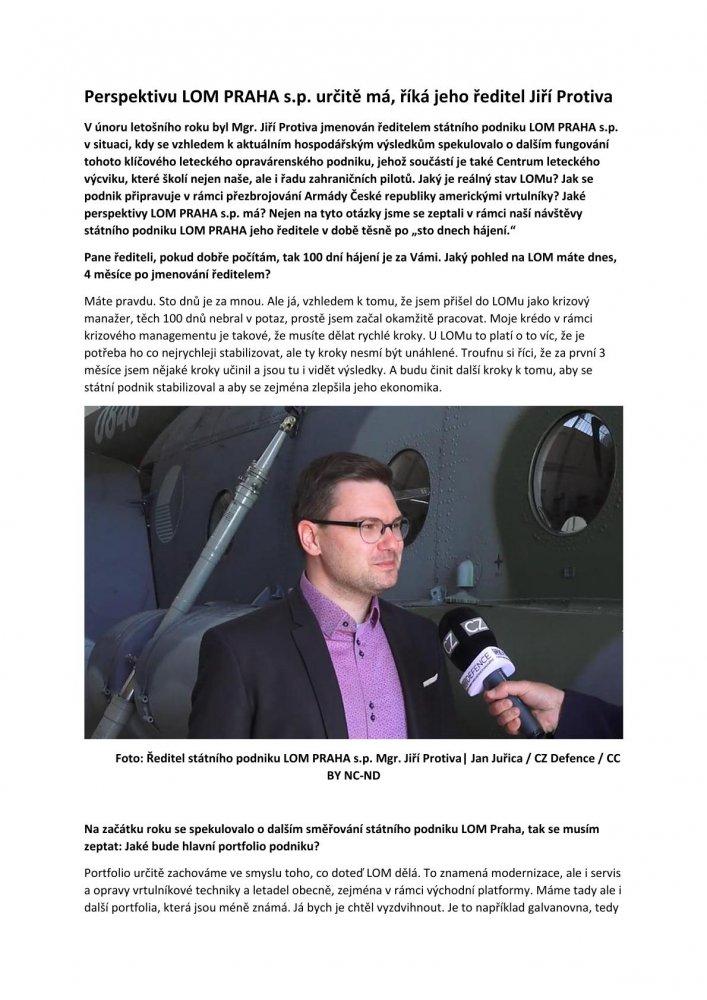 Perspektivu LOM PRAHA s.p. určitě má, říká jeho ředitel Jiří Protiva